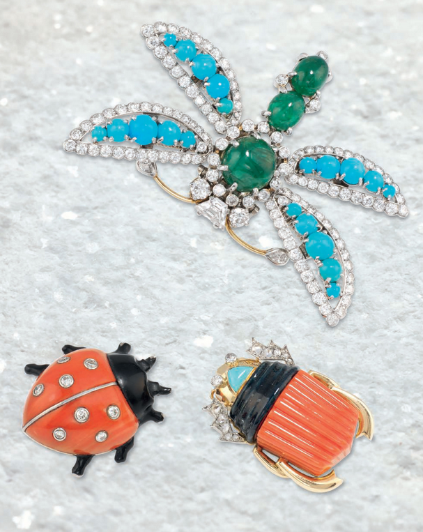An Art Deco coral, diamond and lacquer novelty brooch in the form of a ladybird, by Cartier, circa 1935. Sold for £22,500 on 30 November 2016 at Christie's London. An emerald, turquoise and diamond brooch in the form of a dragonfly, by Cartier, circa 1970. Sold for £25,000 on 30 November 2016 at Christie's London. A gem-set and enamel 'Egyptian revival scarab' brooch, by Cartier, circa 1945. Sold for £18,750 on 30 November 2016 at Christie's London