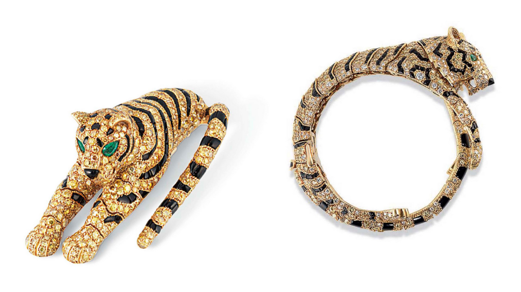 A rare set of yellow diamond, onyx and emerald 'Tiger' jewellery, by Cartier. Sold for CHF3,077,000 on 11 November 2014 at Christie's in Geneva