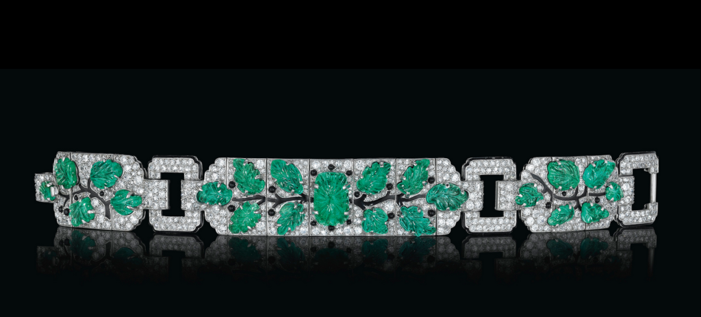 An Art Deco diamond, emerald, enamel and onyx bracelet, by Cartier, formerly the property of Lillian S. Timken. Sold for $751,500 on 7 December 2016 at Christie's in New York. This bracelet is a stunning example of one of Cartier's most collectible themes from the Art Deco period and was made for the Paris Exhibition of 1925