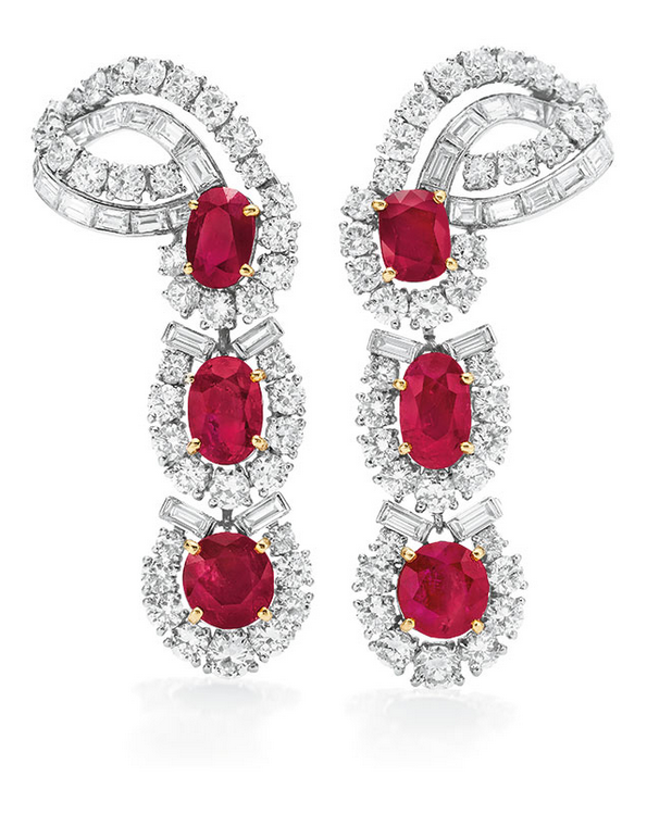 A Pair of ruby and diamond ear pendants, by Cartier. Sold for $782,500 in The Collection of Elizabeth Taylor: The Legendary Jewels, Evening Sale on 13 December 2011 at Christie's in New York