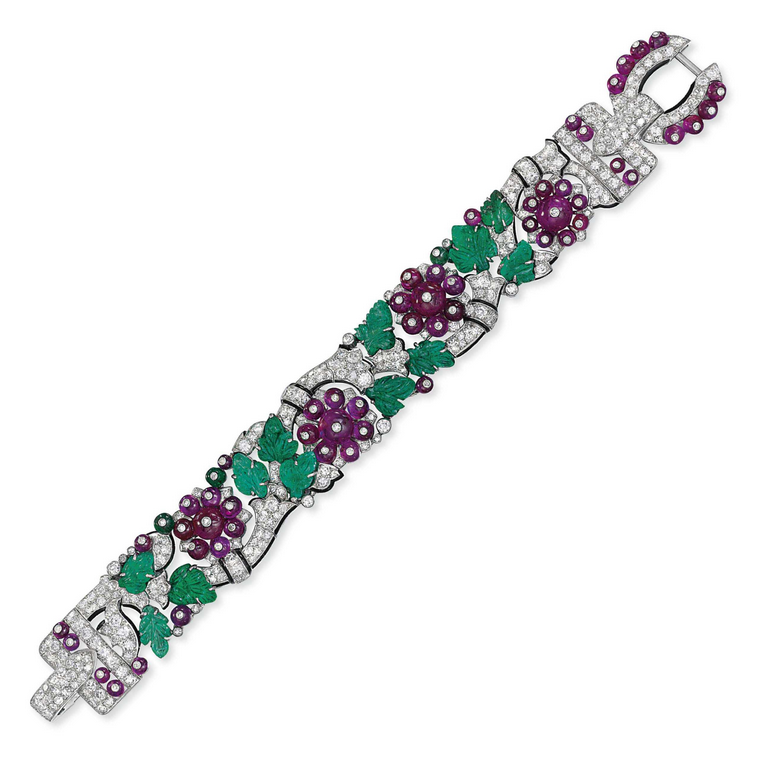 An exceptional Art Deco 'Tutti Frutti' bracelet, by Cartier. Sold for £1,150,050 on 8 June 2011 at Christie's in London. Tutti Frutti creations by Cartier are directly inspired by the intricate Mughal carving and craftsmanship found throughout India from the 16th century onwards